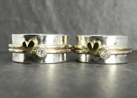 21st & 18th birthday rings using great granny's diamond s & gold