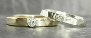 White & yellow gold rings using reclaimed diamonds