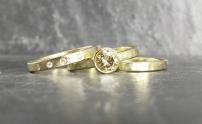 18ct & champagne diamond eternity, engagement & wedding band...